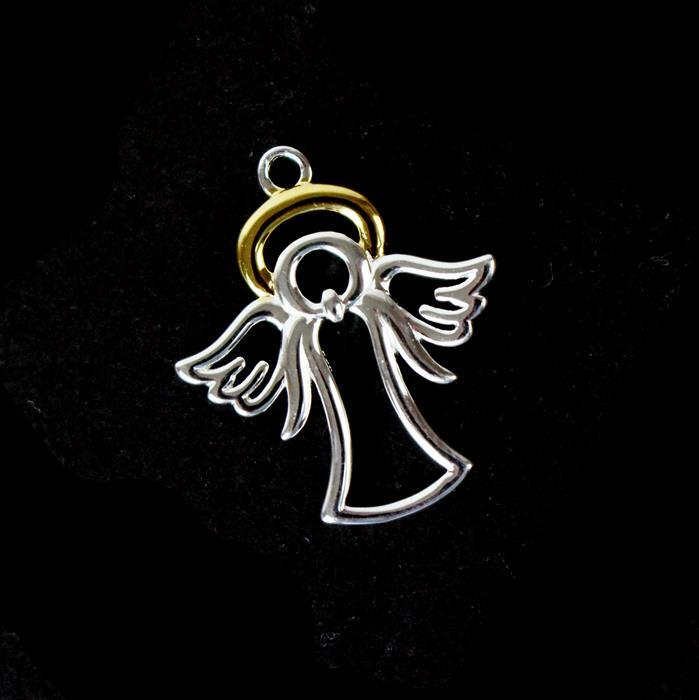 925 Sterling Silver Angel Pendant with Gold Plated Detail, 20mm, 1pc