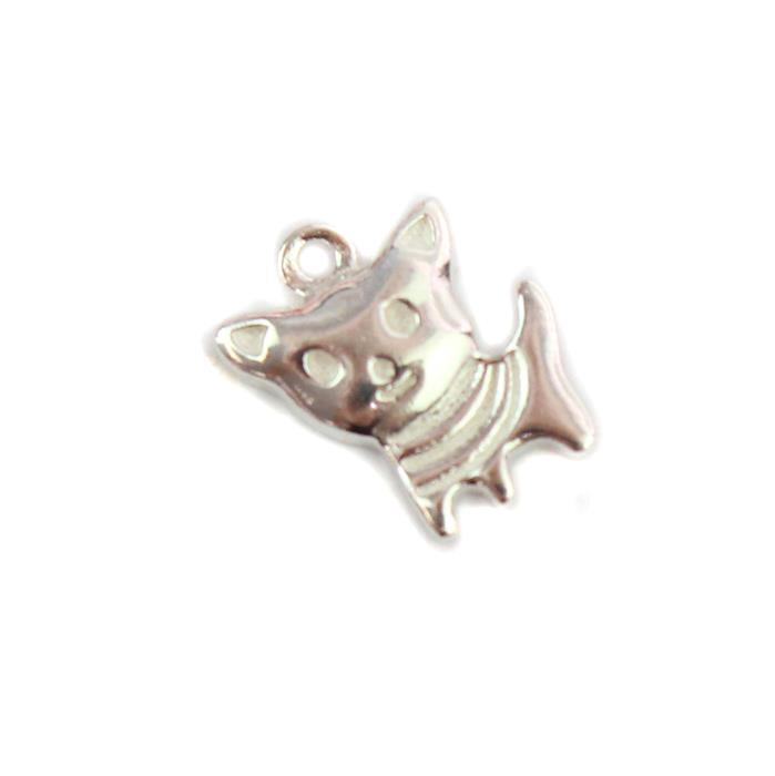 925 Sterling Silver Cat Charm Approx 8x10mm,1pcs