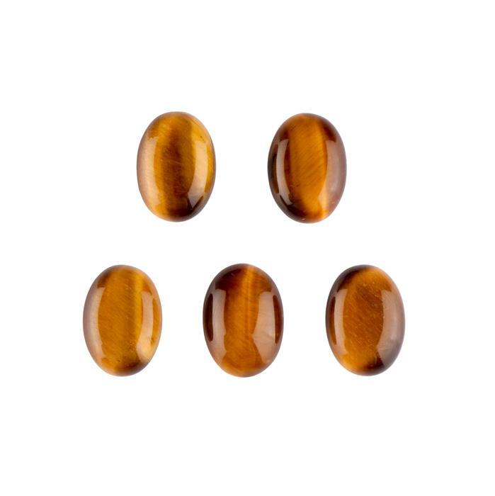 50cts Tiger Eye Oval Cabochons 18x13mm. (Pack of 5)