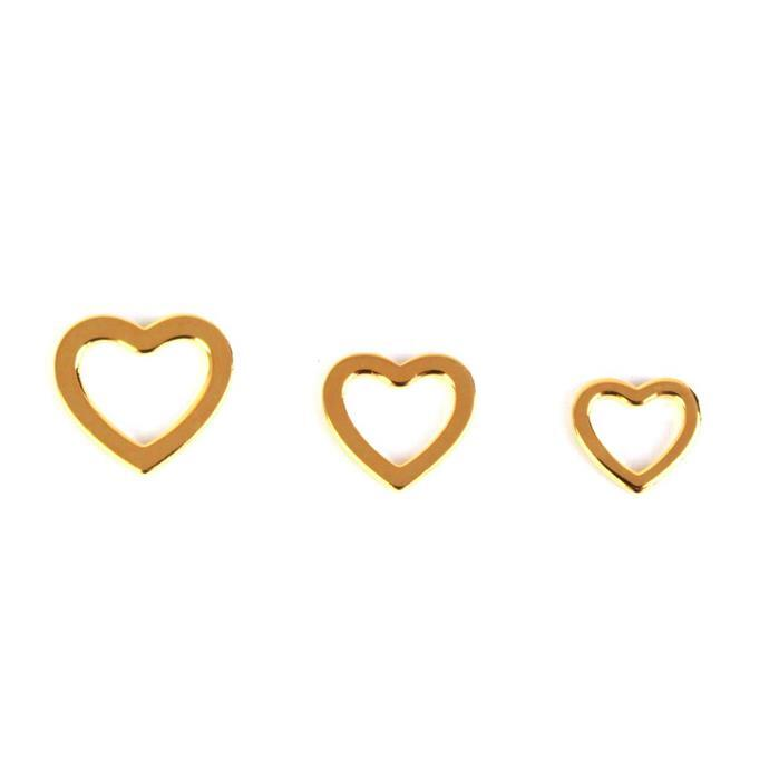 Gold Plated 925 Sterling Silver 3 Size Heart Charms, 10, 11 & 12mm (3pcs)