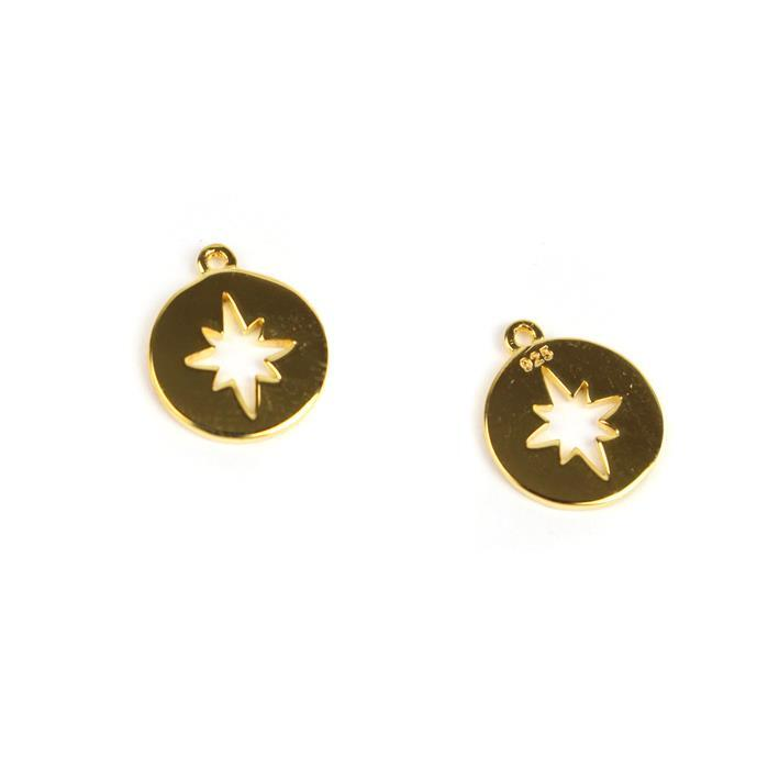 Gold Plated 925 Sterling Silver Round North Star Cut Out Charms Approx 10x11mm 2pcs