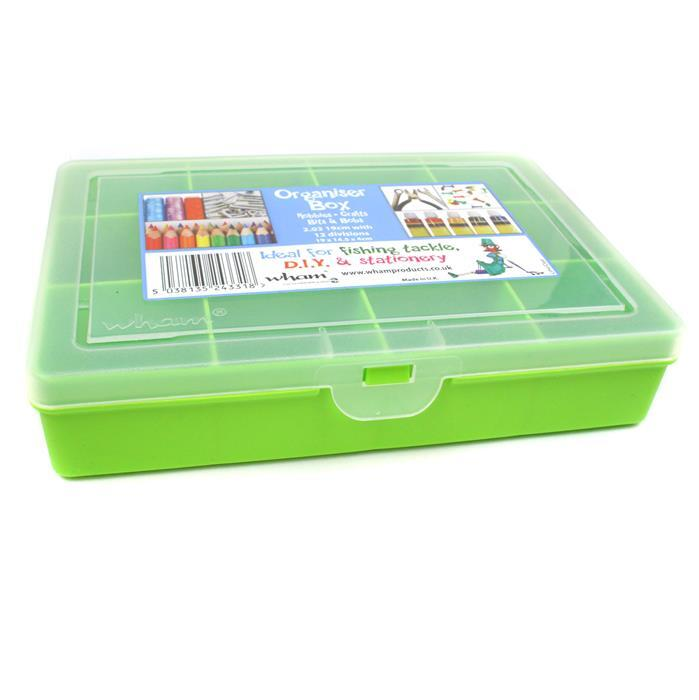Lime Organiser Box with 12 Divisions  19x14.5x4cm