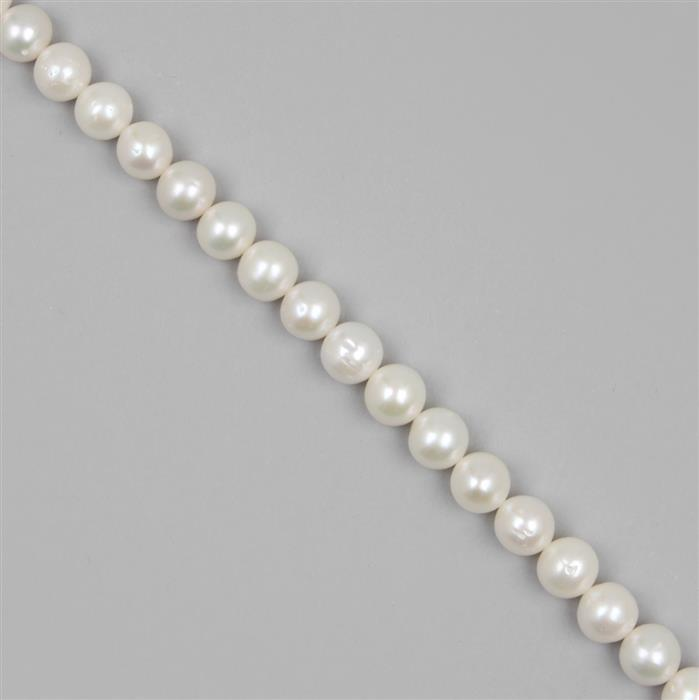 White Freshwater Cultured Pearl Rounds Approx 10mm