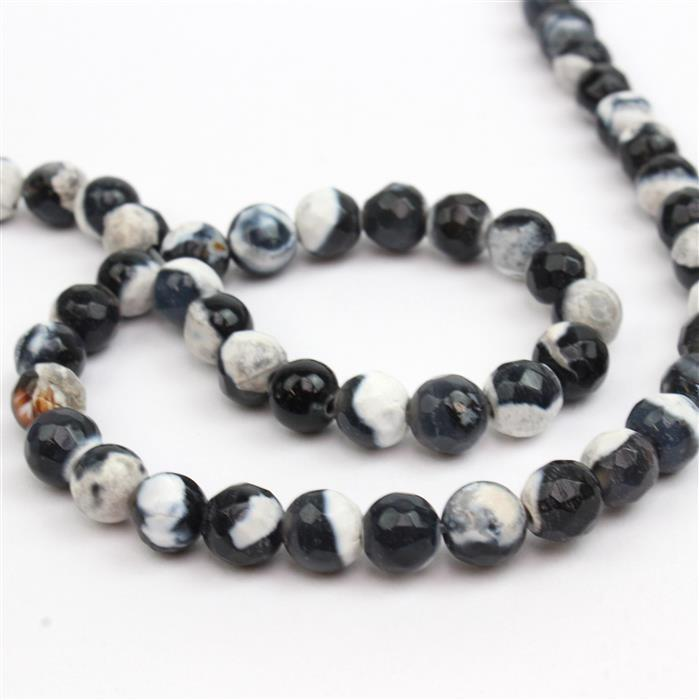 80cts Dyed Black&White Agate Faceted Rounds Approx 6mm, Approx 38cm strand