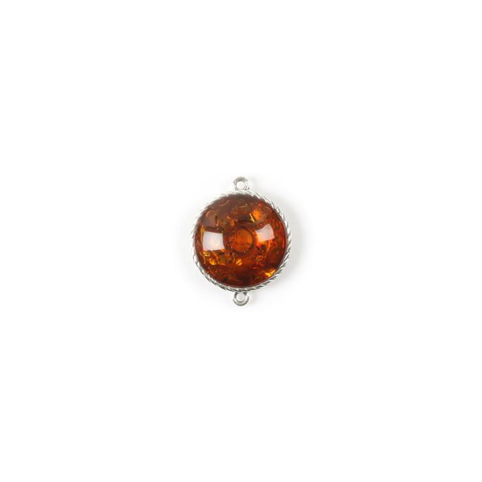 Baltic Cognac Amber Sterling Silver Round Connector - 23x18mm