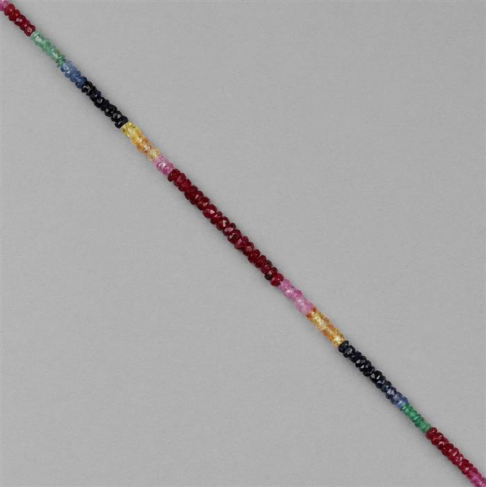 12cts Ruby, Emerald & Multi Sapphire Graduated Faceted Rondelles Approx 1x1 to 3x1mm, 18cm Strand.