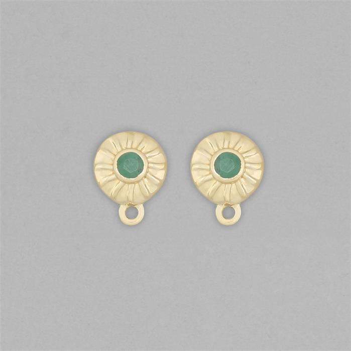 Gold Plated 925 Sterling Silver Stud Earrings with Loops Approx 11x8mm Inc. 0.20cts Emerald Round Approx 3mm
