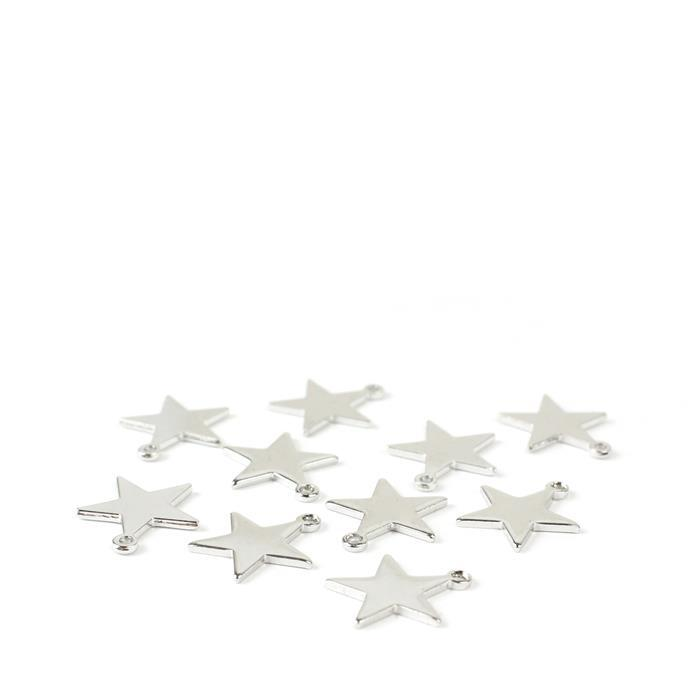 Palladium Plated Base Metal Star Charms Approx 12mm (10pk)