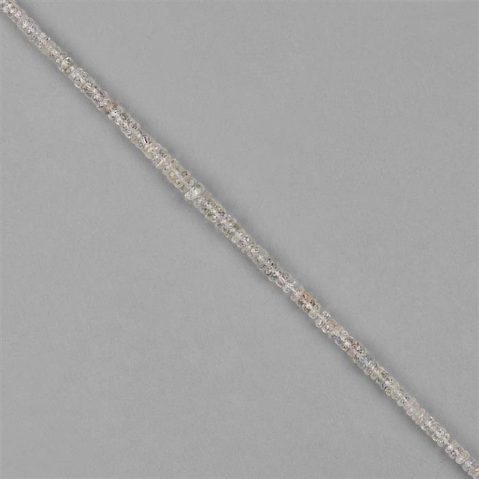 25cts White Sapphire Graduated Faceted Rondelles Approx 2x1 to 4x2mm, 18cm Strand.