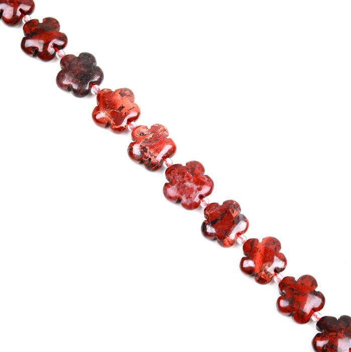 250cts Poppy Jasper Five-Petal Flowers Appox 15mm, 27pcs/strand